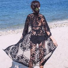 泰国海边罩衫泳装外套蕾丝披风长款沙滩防晒衣女开衫温泉服可下水