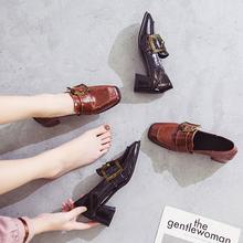 鞋子女2018新款秋季百搭复古方头网红高跟小皮鞋韩版学生粗跟单鞋