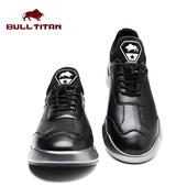 美国公牛巨人潮鞋男士秋季新款运动皮鞋厚底增高套脚低帮鞋休闲鞋
