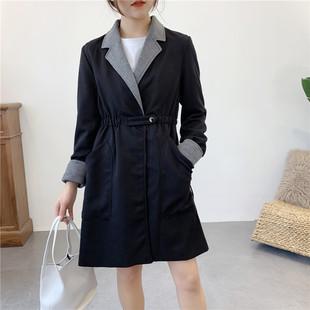 春秋女针织棉长袖西装领外套韩版修身高腰气质纯色中长款外套风衣