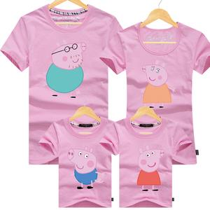 亲子装母女装一家三口四口纯棉短袖T恤夏装家庭套装全家小猪佩奇亲子装