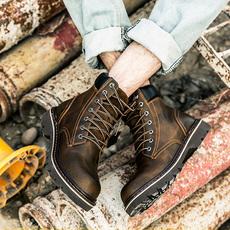 马丁靴男真皮英伦风高帮鞋短靴男士靴子夏季圆头系带工装靴大头鞋