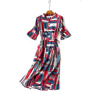 19春季新款棉麻衬衫拼接连衣裙 开扣喇叭袖系腰带碎花口袋中长裙