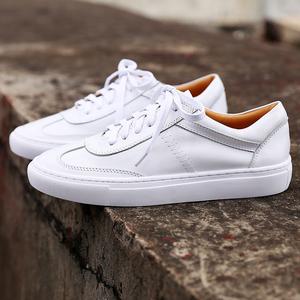 韩版女鞋平底百搭新款小白鞋真皮女白色情侣板鞋系带休闲运动单鞋真皮女鞋