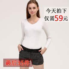 欧美风新款V领山羊绒衫女短款套头毛衣正品羊毛针织打底衫高弹力