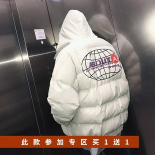 冬装新款背后地球印花个性加厚棉衣男士韩版宽松纯色连帽棉服9