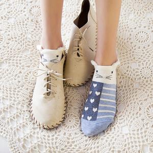 袜子女短袜棉袜浅口纯棉船袜秋冬季韩国日系可爱卡通耳朵四季女袜