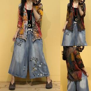 复古花色棉麻中袖针织开衫女 2019夏季新款宽松显瘦百搭洋气外套