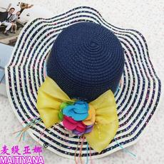 韩版大沿防晒遮阳帽子女夏天沙滩花朵蝴蝶结波浪边草帽海边太阳潮