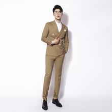 西服套装 黄色双排扣轻商务修身 条纹西装 川泽男装 三件套男2019韩版