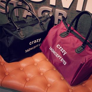 2016新款原创潮牌简洁字母印花手提袋手提包旅行包大容量行李包潮