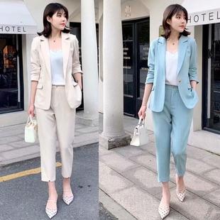 雅诗9929春新款女装棉麻小西装外套九分裤两件套职业装静魅J19932