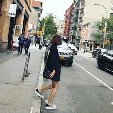 丢丢韩国秋冬韩版女装宽松百搭黑色长袖中长款休闲小西装外套上衣