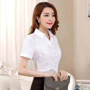 白衬衫女短袖职业2019新款正装半袖大码ol女装工作服纯棉白色衬衣