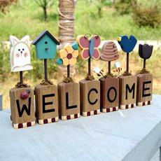 欧式木质挂牌 田园风格welcome创意门牌 欢迎光临挂牌 挂摆件两用