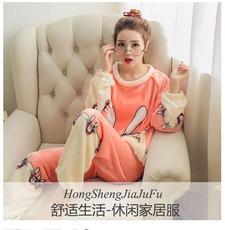 初秋女士睡衣珊瑚绒秋冬款冬天加厚加绒法兰绒卡通可爱家居服套装