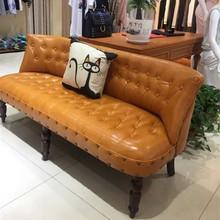 欧美式复古布艺小沙发单人迷你双人三人小户型卧室服装 店沙发椅子