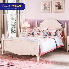 七彩人生欧式白色儿童床女孩公主床1.5米1.2米单人双人床城堡系列