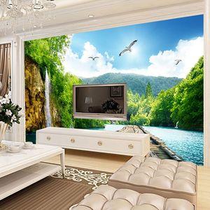 三d壁纸立体电视背景墙山水清新风景 客厅卧室影视墙装饰布8d span