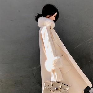 大喜自制2017冬季阿尔巴卡双面呢大衣女中长款可脱卸毛领毛呢外套毛呢大衣