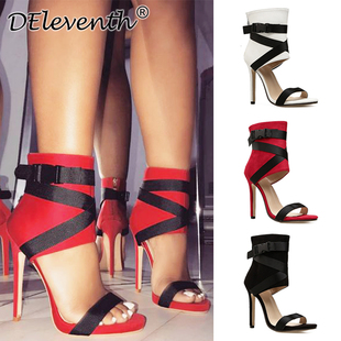 Red high heels sandals woman shoes编织扣带细高跟鱼嘴凉靴女鞋
