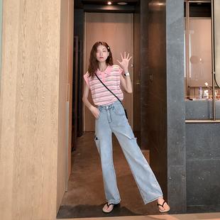 心机条纹针织无袖polo领衫T恤女士夏季装2019新款小众背心上衣潮