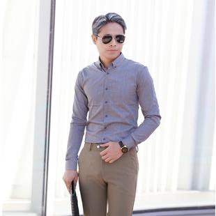 韩国新款男士灰色亚麻条纹衬衫潮男韩版长袖衬衣男式休闲衬衫男装