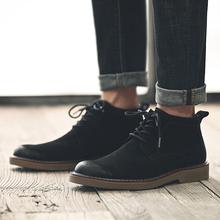 木林森秋冬季马丁靴男中帮复古男靴高帮靴沙漠靴短靴子单鞋不加绒