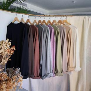 BANGBOY 韩版百搭秋季打底衫内搭宽松纯色棉麻长袖T恤潮男士体恤