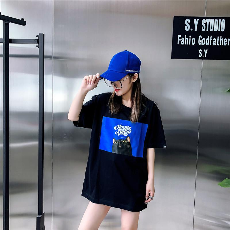 2018夏装女潮牌新品猫咪短袖 欧美街头宽松bf风纯棉情侣T恤潮图片