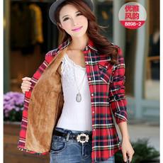 秋冬韩版修身百搭纯棉保暖格子衬衫女长袖加绒加厚