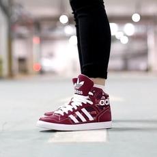Adidas高帮女鞋三叶草运动休闲板鞋CP9627 CP9626 AC8586 AC8587