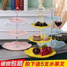 欧式陶瓷水果盘客厅创意现代糖果点心托盘零食点心盘三层干果盘子