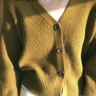 THE CAKE wood button cardigan 木纽扣V领 女