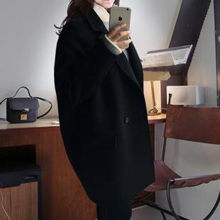 2016冬新款毛呢大衣女韩版翻领呢子大衣女中长款茧型毛呢外套女