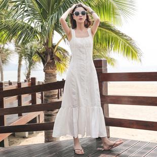 巴厘岛海边度假沙滩裙棉麻波西米亚长裙夏季修身鱼尾吊带连衣裙女