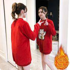 韩版冬招财猫上衣打底衫加绒加厚金丝绒中长款卫衣女宽松休闲外套