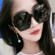 New square Polarized Sunglasses for men and women fashionable black oversize Frame Sunglasses with round face and retro facial repair glasses