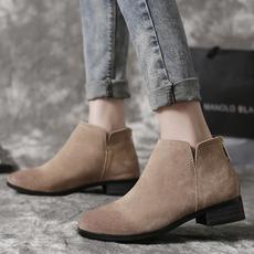 黑色短靴女粗跟磨砂皮秋冬复古马丁靴真皮尖头及踝靴平底裸靴加绒