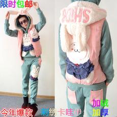 2016新款冬装小兔子卫衣三件套女装韩版休闲运动甜美可爱卡通套装