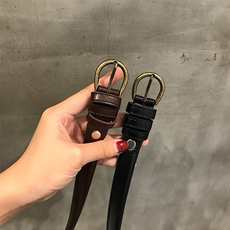 2017新款韩版百搭单品简约几何金属PU皮女式细腰带休闲针扣皮带女