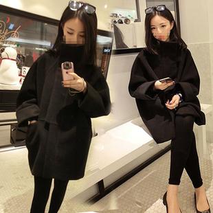 2016秋冬新品韩版黑色茧型毛呢外套女中长款加厚学生宽松呢子大衣
