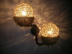 田园风全手工编织藤艺双头壁灯过道壁灯客厅壁灯餐厅壁灯床头壁灯