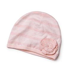 davebella超薄婴儿女宝宝胎帽 纯棉条纹公主范套头帽宝宝帽子1009