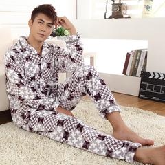 秋冬季男士珊瑚绒睡衣 男长袖冬款卡通清仓 套装加厚法兰绒家居服