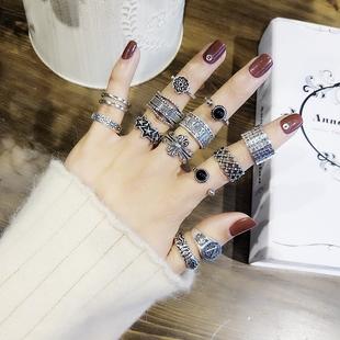 日韩气质S925银复古戒指女冷淡风网红开口泰银情侣食指环学生潮男