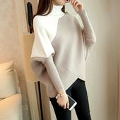 高领毛衣女套头2018秋冬新款韩版打底针织衫不规则加厚宽松蝙蝠衫