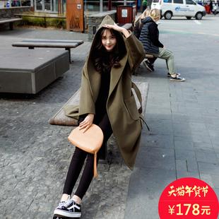 呢子大衣女中长款 2016冬装新款韩版学院风连帽收腰系带毛呢外套