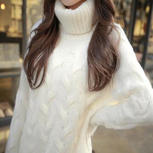 中长款高领套头毛衣女韩版宽松加厚秋冬季新品针织线衣女装打底衫羊绒衫女