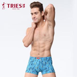 TRiES/才子男士全棉内裤平角透气内裤男青年性感四角裤礼盒装
